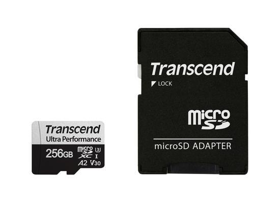 Transcend 256GB microSDXC 340S UHS-I U3 V30 A2 3D TLC (Class 10) paměťová karta (s adaptérem), 160MB/s R, 125MB/s W