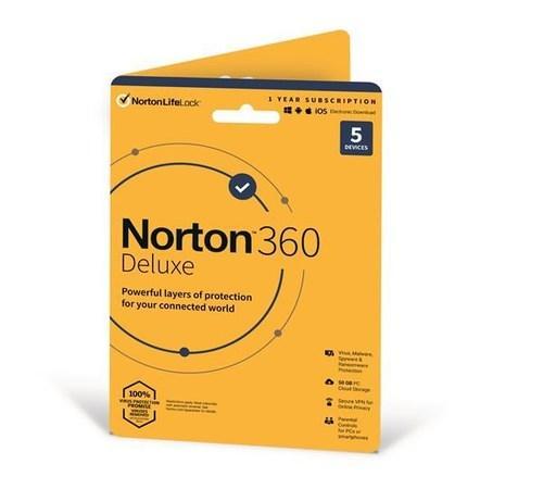 SPECIAL - NORTON 360 DELUXE 50GB +VPN 1 uživatel pro 5 zařízení na 1rok - Kartička, 21409796