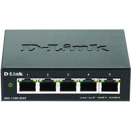 D-Link DGS-1100-05V2 5-port Gigabit Smart Managed switch, fanless, DGS-1100-05V2/E