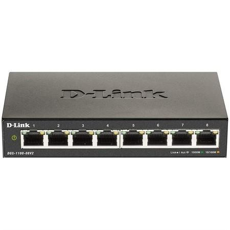 D-Link DGS-1100-08V2 8-port Gigabit Smart Managed switch, fanless, DGS-1100-08V2/E