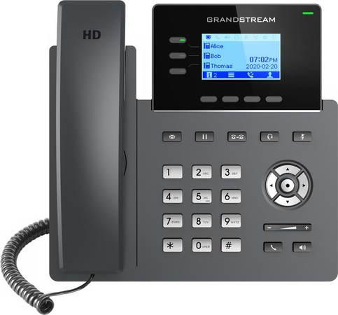"Grandstream GRP2603P SIP telefon, 2,48"" LCD podsv. displej, 6 SIP účty, 2x1Gbit port, PoE, GRP2603P"