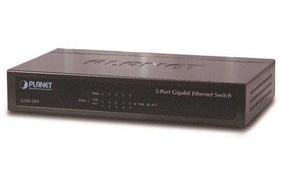 Planet GSD-503 Switch 5x10/100/1000BASE-T, EUP, 802.3AZ, kov, GSD-503