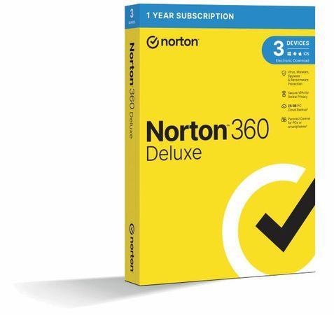 NORTON 360 DELUXE 25GB CZ 1uživatel pro 3 zařízení na 12 měsíců_Box, 21416704
