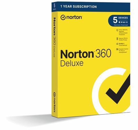 NORTON 360 DELUXE 50GB CZ 1uživatel pro 5 zařízení na 12 měsíců_Box, 21415000
