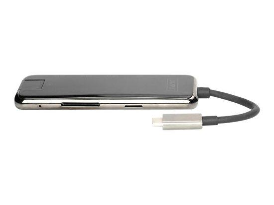 DIGITUS DA-70887 USB-C Dock 8-Port gray HDMI RJ45 3x USB 3.0 SD/MicroSD USB-C PD, DA-70887