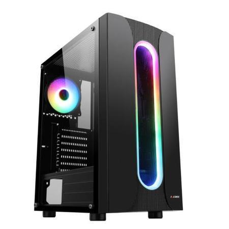 1stCOOL Middle Tower SAURON Aura ARGB, ATX black černý, bez zdroje, fulltower ATX (2xUSB2+ 1xUSB3+ Audio+ Transparentní bočnice) (PC case)