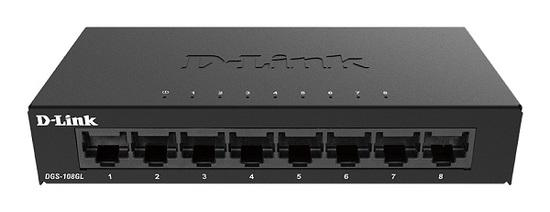 D-Link DGS-108GL kovový 8-port 10/100/1000 Desktop Switch, DGS-108GL/E