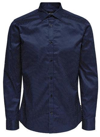 ONLY&SONS Pánská košile ONSALVES LS 2-PLY EASY IRON AOP SHIRT Dress Blues M