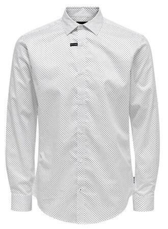 ONLY&SONS Pánská košile ONSALVES LS 2-PLY EASY IRON AOP SHIRT White M