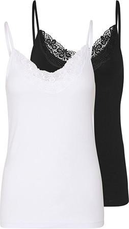 Levně VERO MODA 2 PACK - dámské tílko VMINGE 10231874 Black Bright white XL