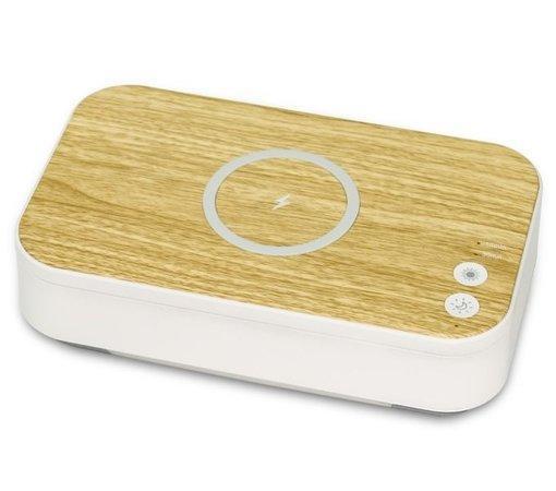 IMMAX UV-C sterilizátor pro mobily, respirátory a drobné předměty/ Qi nabíjení/ USB/ podsvícení/ bílo-hnědý