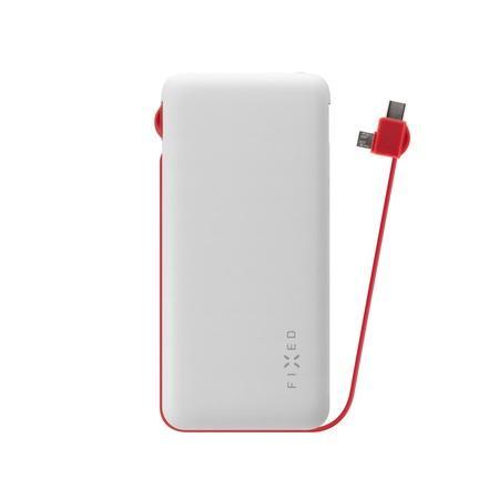 FIXED Zen 10 000 mAh powerbanka s kabelem microUSB/USB-C bílá