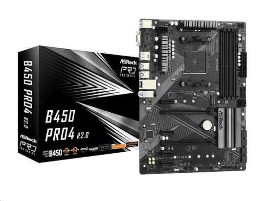 ASRock MB Sc AM4 B450 PRO4 R2.0, AMD B450, 4xDDR4, 1xDP, 1xHDMI, VGA, B450 PRO4 R2.0
