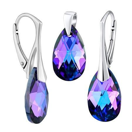 SILVEGO stříbrný set se Swarovski® Crystals kapka HELIOTROPE