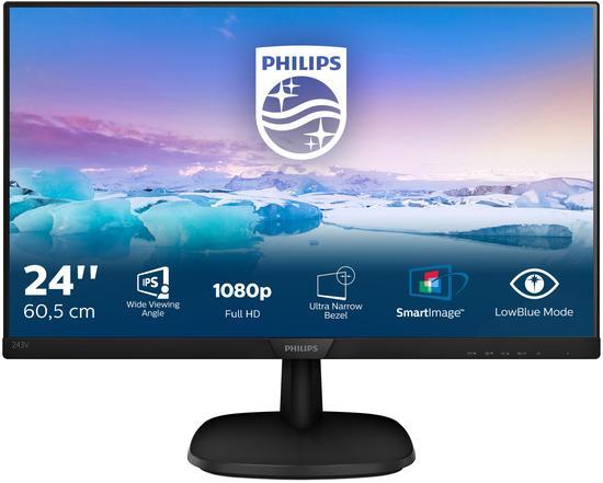 "Monitor Philips 243V7QDAB 23,8"",LED, IPS, 5ms, 1000:1, 250cd/m2, 1920 x 1080,"