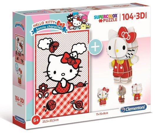 CLEMENTONI Puzzle Hello Kitty 104 dílků a 3D puzzle Hello Kitty