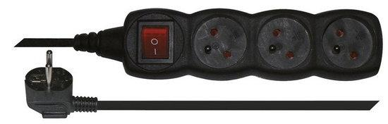 Prodlužovací kabel s vypínačem 3 zásuvky 5m, černý