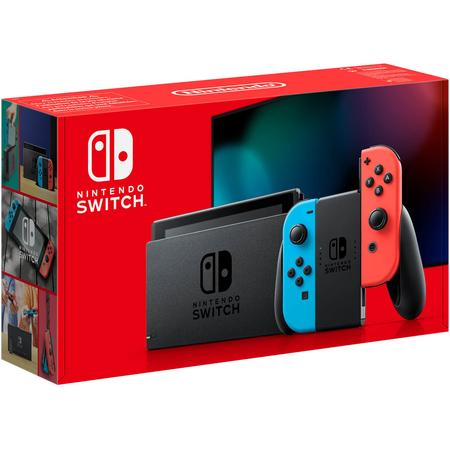 Nintendo Switch console with neonred&blue Joy-Con